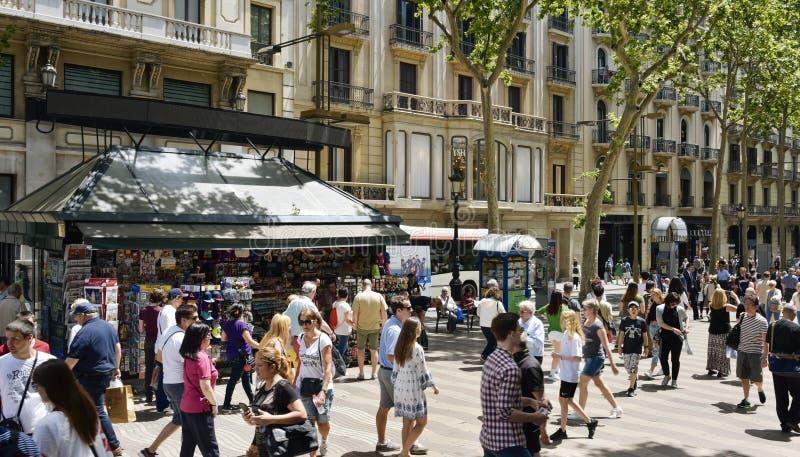 La Rambla, à Barcelone, l'Espagne image stock