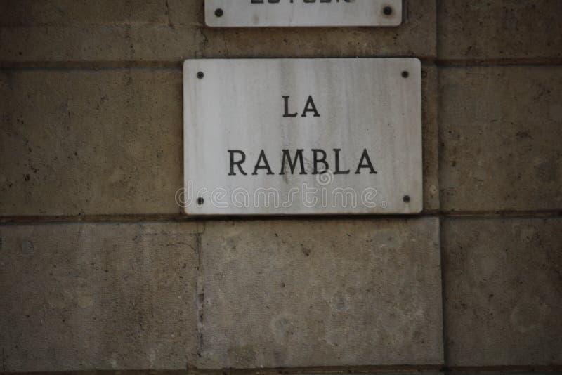 La Rambla Barcelona stock afbeeldingen