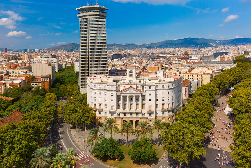 La Rambla in Barcelona, Catalonia, Spain royalty free stock images