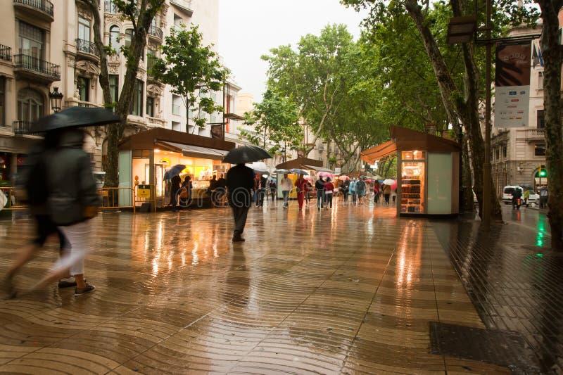 La Rambla Barcelona in rain royalty free stock photography