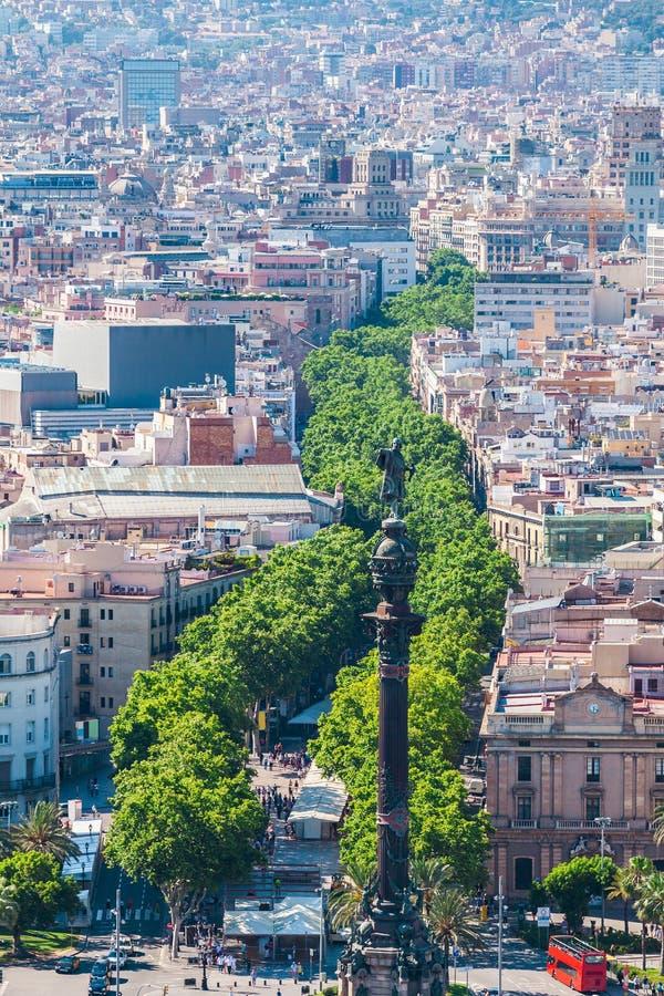La Rambla in Barcelona, Spain. Aerial view royalty free stock images