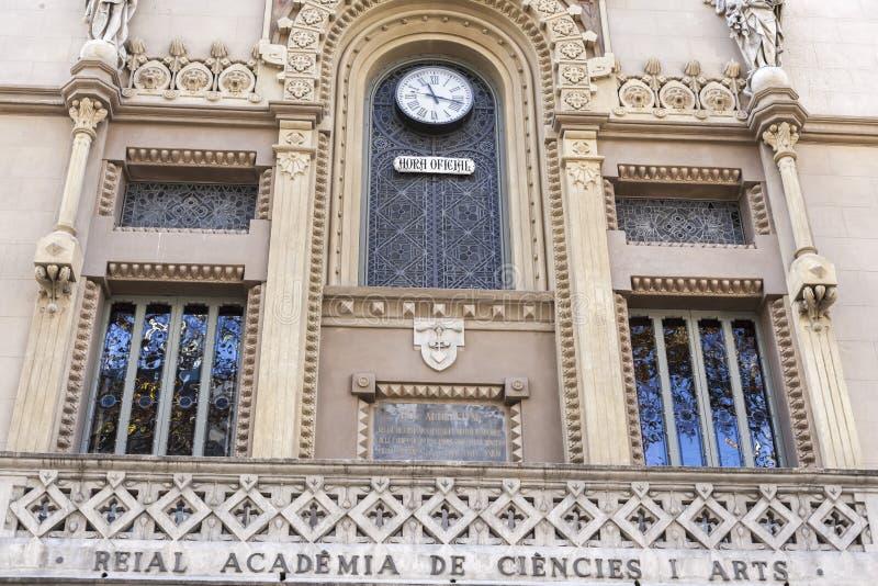 La Rambla, costruzione della facciata, arti di Ciencies i dell'accademia di Reial, arte reale di scienza dell'accademia, stile mo immagine stock libera da diritti