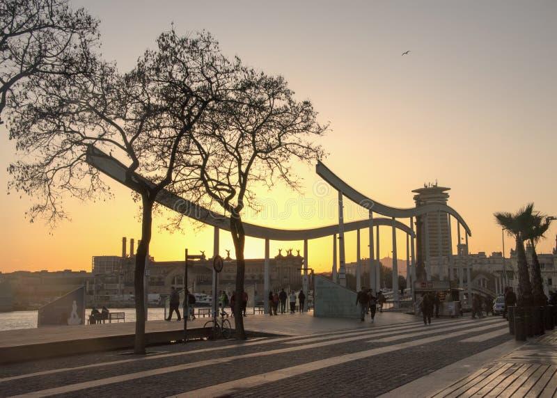La Rambla de marcha en la puesta del sol fotos de archivo