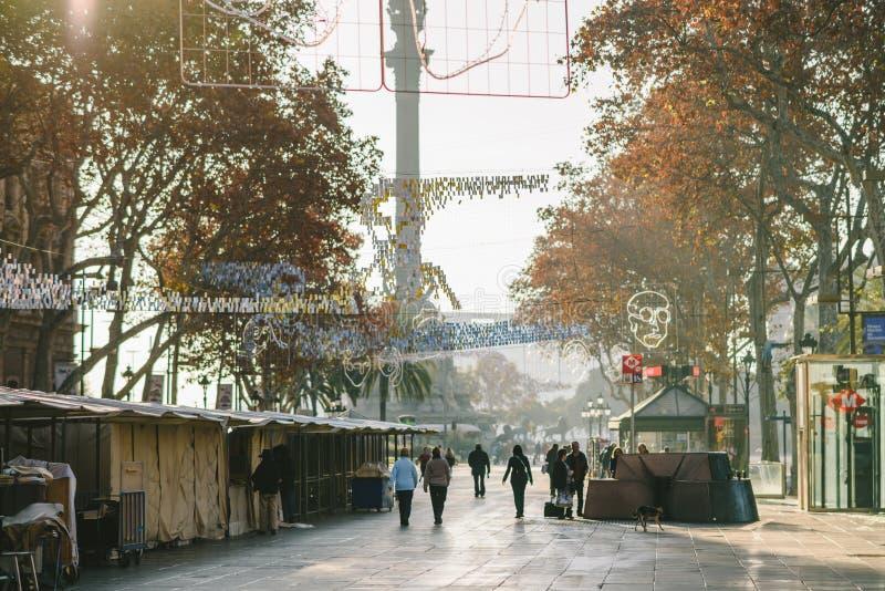 La Rambla en Barcelona, España foto de archivo