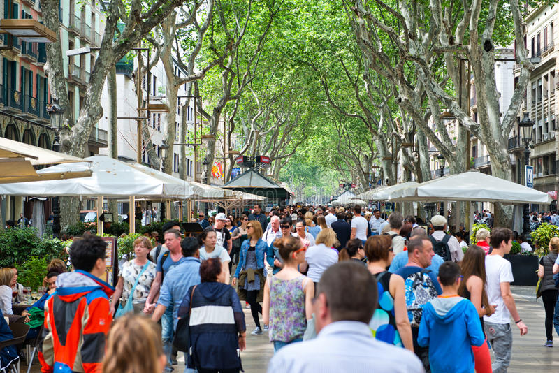 La Rambla Pedestrian Mall Crowded with Tourists stock images