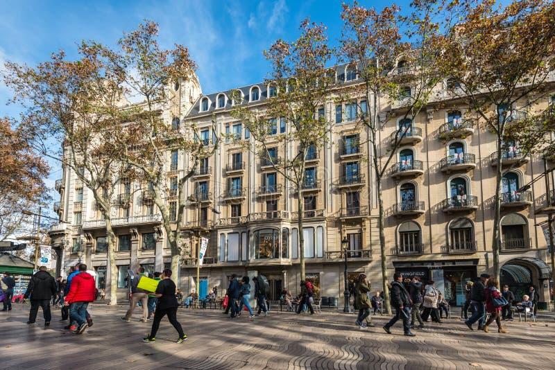 La Rambla street in Barcelona, Spain stock photography