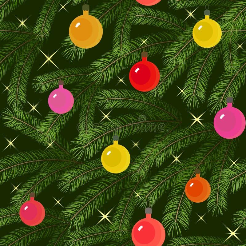 La ramificación del abeto del árbol de navidad adornó inconsútil stock de ilustración