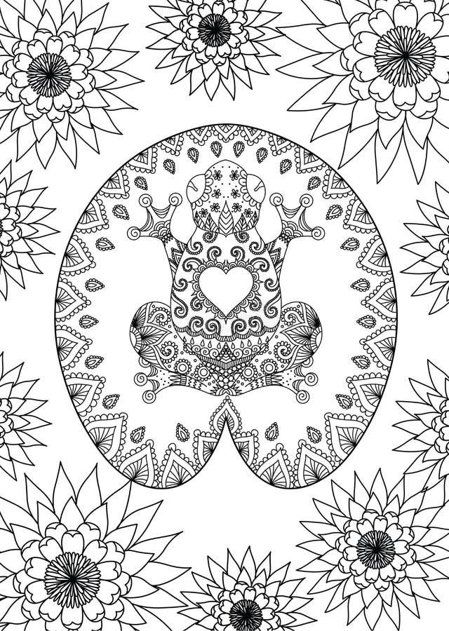 La rana dibujada mano del zentangle que se sienta en el diseño de la hoja del loto para la página adulta del libro de colorear, t ilustración del vector