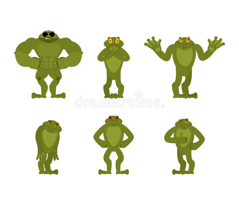 La rana fijó actitudes Sapo feliz y yoga El dormir Anuran y enojado culpable y triste Ilustración del vector libre illustration