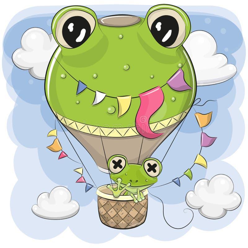 La rana linda está volando en un globo del aire caliente libre illustration