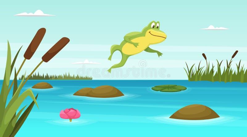 La rana que salta en la charca Fondo de la historieta del vector ilustración del vector