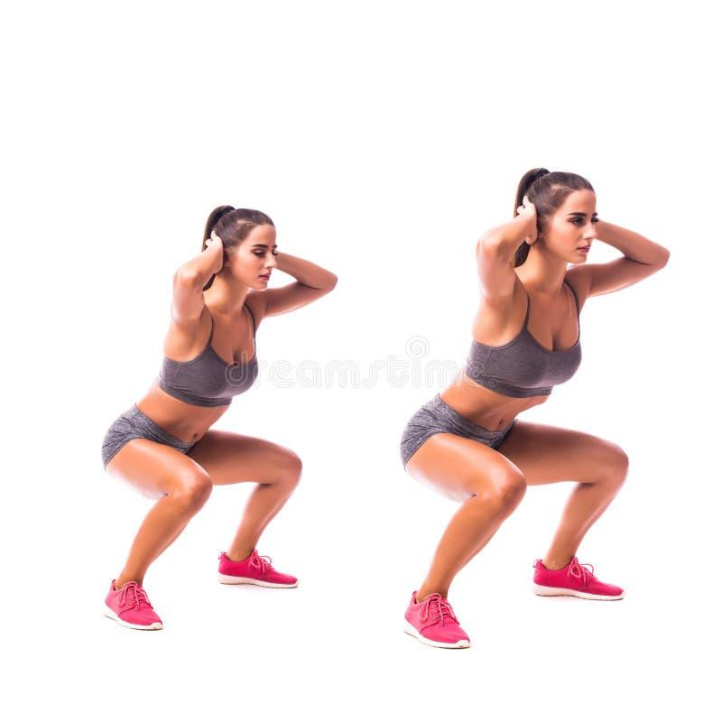 La rana salta ejercicio Mujer joven que hace ejercicio del deporte foto de archivo