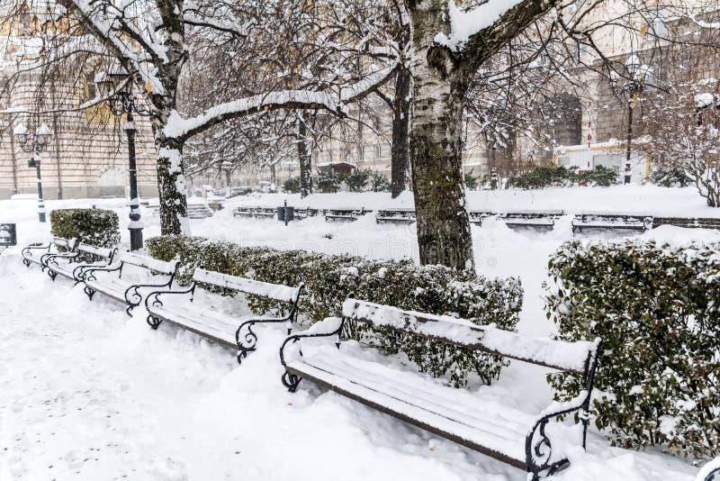 La rangée de la neige en bois a couvert des bancs en hiver Sofia photo libre de droits