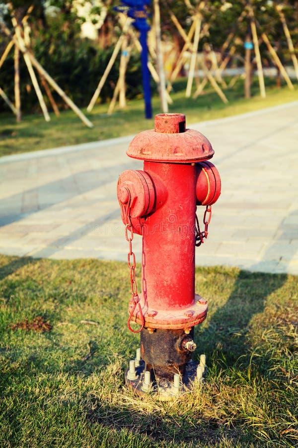 La rangée des bouches d'incendie rouge, mettent le feu aux tuyaux principaux, aux tuyaux pour la lutte contre l'incendie et à ext image libre de droits