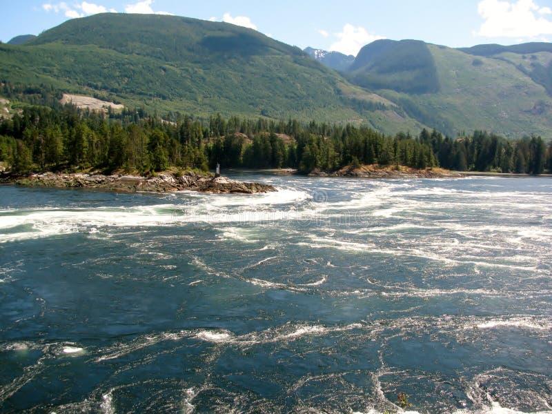 La rapide de marée chez Skookumchuck rétrécit le parc provincial image stock