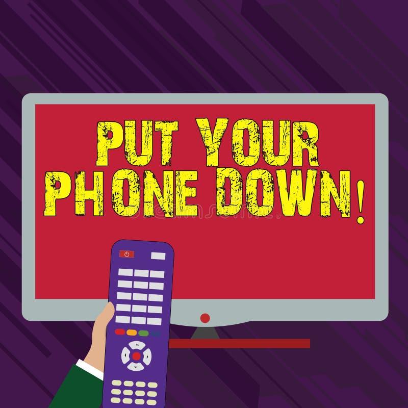 La rappresentazione concettuale di scrittura della mano ha messo il vostro telefono giù Collegamento telefonico dell'estremità de illustrazione di stock