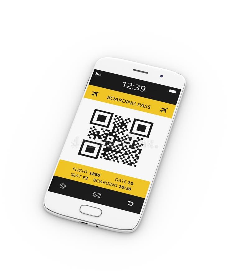 la rappresentazione 3d del telefono cellulare con l'imbarco mobile passa sopra il bianco illustrazione vettoriale