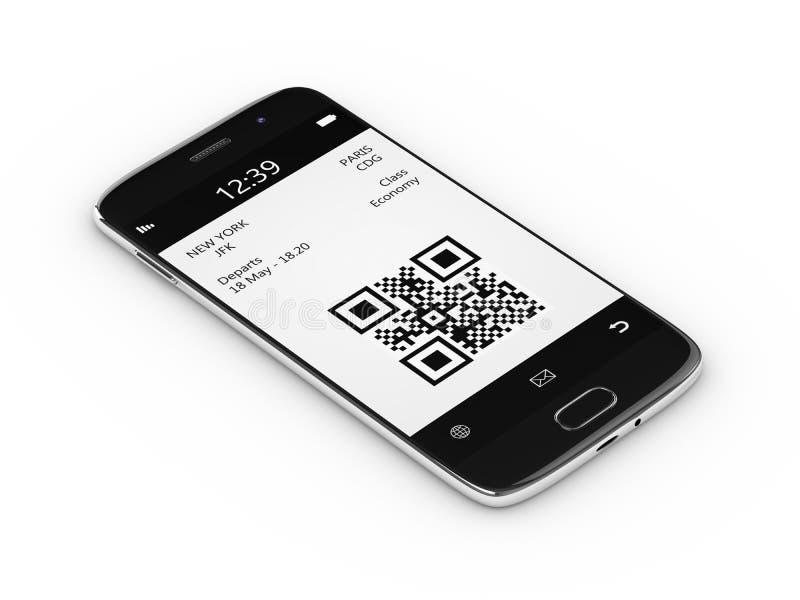 la rappresentazione 3d del telefono cellulare con l'imbarco mobile passa sopra il bianco royalty illustrazione gratis