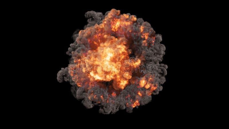 la rappresentazione 3D delle esplosioni, delle onde di urto e dei club variopinti voluminosi ha riempito di fumo illustrazione di stock