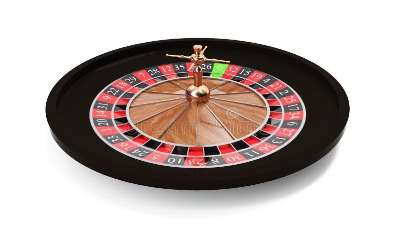 la rappresentazione 3d delle roulette di legno isolate del casin? con stare dorato delle decorazioni ha piegato da un lato Giochi illustrazione vettoriale