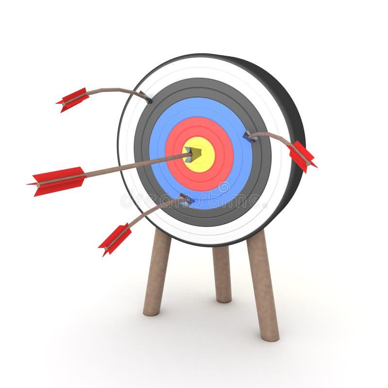 la rappresentazione 3D di molte frecce attaccate sull'obiettivo ma su soltanto uno colpisce il mezzo illustrazione vettoriale