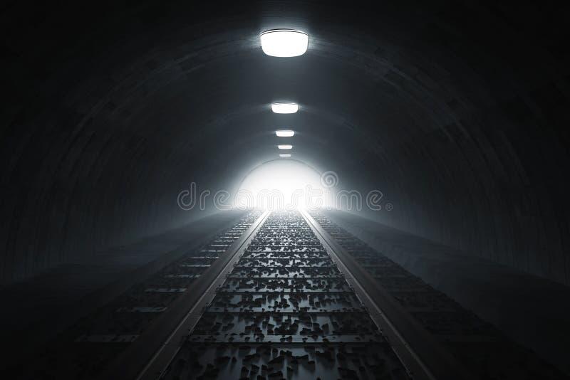 la rappresentazione 3d di scurisce il tunnel del treno con luce all'estremità royalty illustrazione gratis