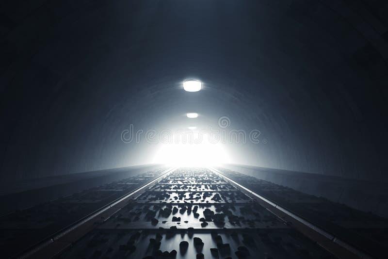 la rappresentazione 3d di scurisce il tunnel del treno con luce all'estremità illustrazione vettoriale