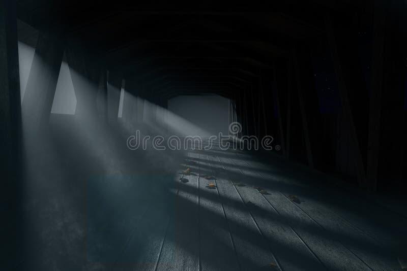 la rappresentazione 3d di un ponte di legno coperto vecchio a scurisce il nig nebbioso illustrazione vettoriale