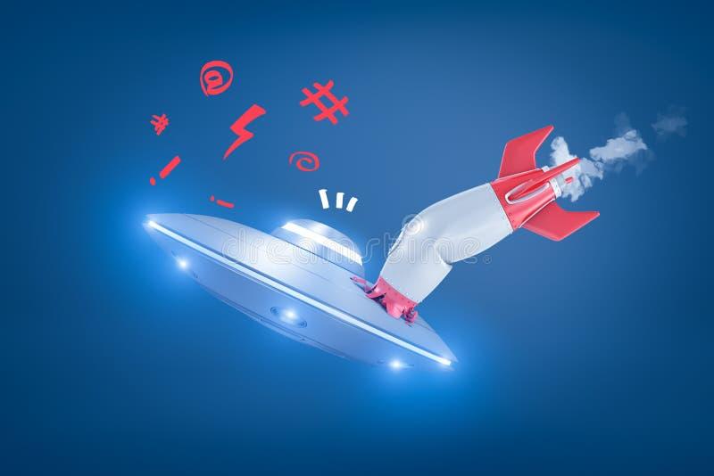 la rappresentazione 3d di un razzo di spazio che si scontra con un UFO, con conseguente arresto del razzo ed il UFO rimangono ill illustrazione vettoriale