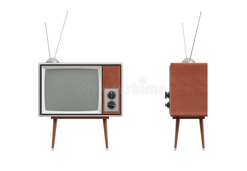 la rappresentazione 3d di un set televisivo retro in bianco con un'antenna sta su una tavola a quattro zampe bassa su fondo bianc illustrazione di stock