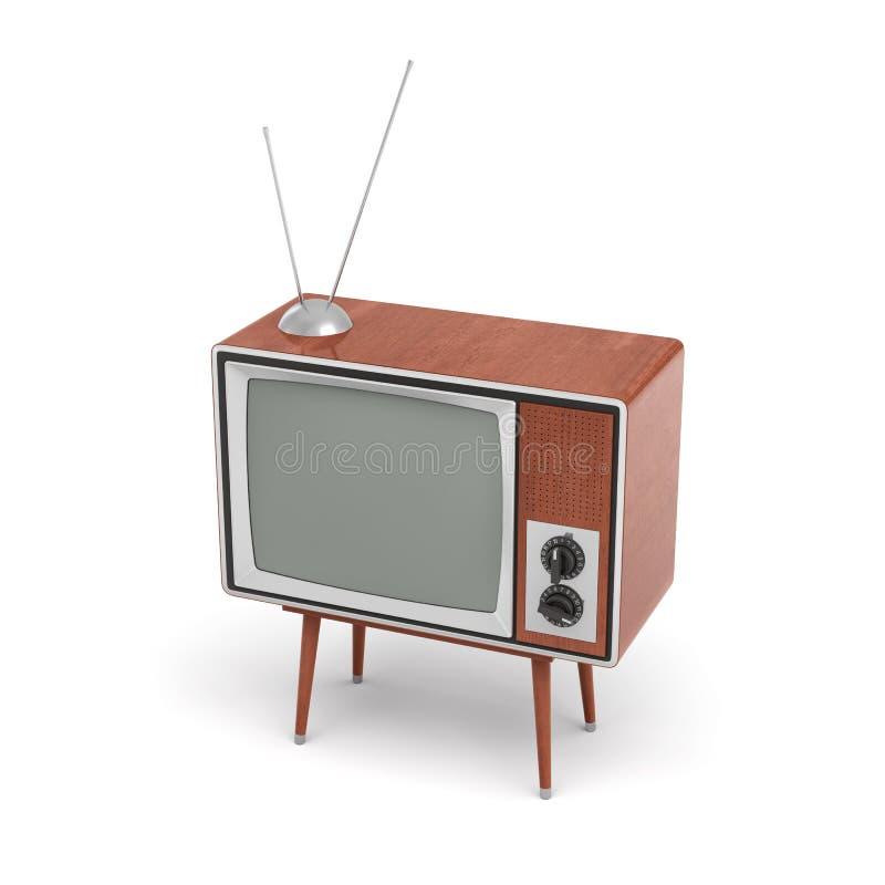 la rappresentazione 3d di un set televisivo retro in bianco con un'antenna sta su una tavola a quattro zampe bassa su fondo bianc illustrazione vettoriale