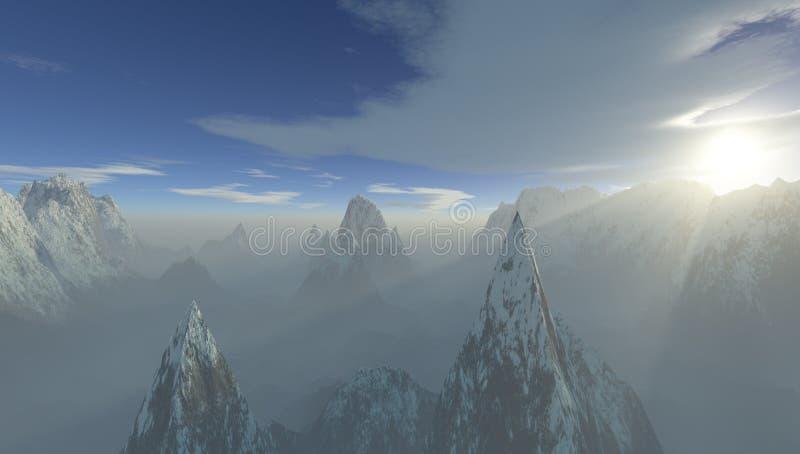 la rappresentazione 3D di una catena montuosa di altitudine di altezza con il sole nebbioso rays illustrazione vettoriale