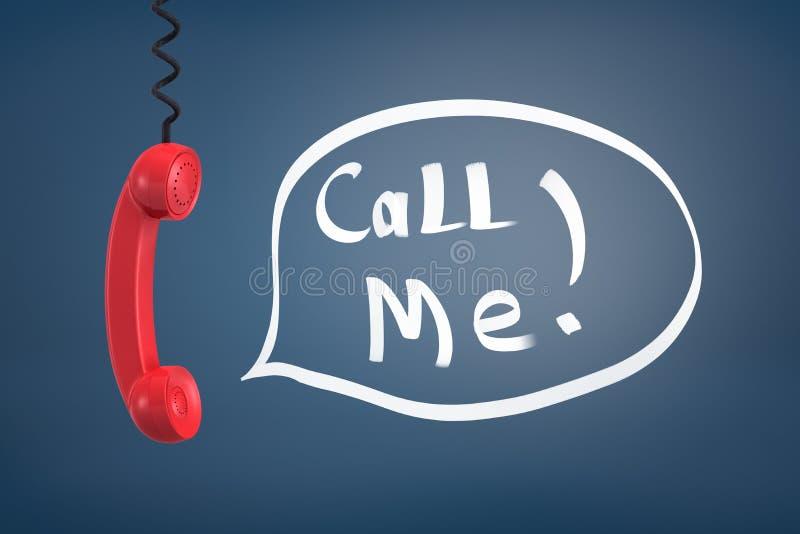 la rappresentazione 3d di una maniglia retro rossa del telefono che appende giù su un cavo d'avvolgimento vicino alle parole mi c illustrazione di stock