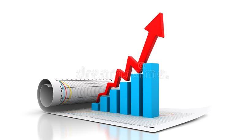La rappresentazione del grafico commerciale profitta di e guadagni illustrazione vettoriale