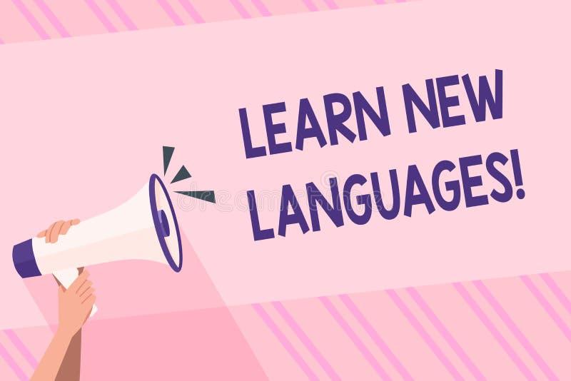 La rappresentazione del segno del testo impara le nuove lingue Capacità di sviluppo della foto concettuale di comunicare in mano  illustrazione di stock