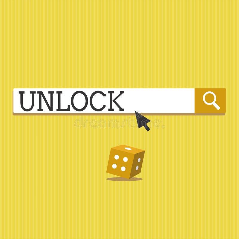 La rappresentazione del segno del testo sblocca Parola d'ordine concettuale di uso della foto o l'altra autenticazione per accede illustrazione di stock