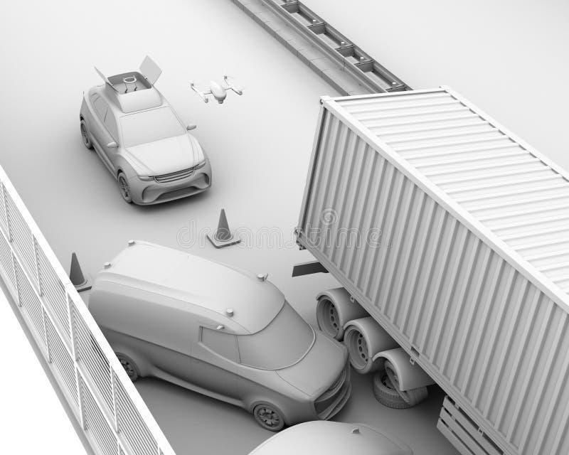 La rappresentazione dell'argilla del salvataggio elettrico SUV ha liberato il fuco all'incidente stradale di registrazione sulla  illustrazione vettoriale