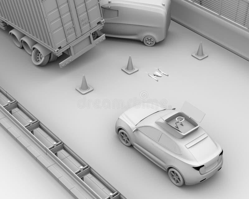 La rappresentazione dell'argilla del salvataggio elettrico SUV ha liberato il fuco all'incidente stradale di registrazione sulla  illustrazione di stock