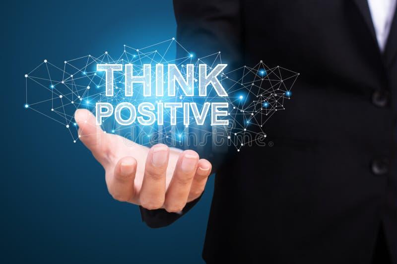 La rappresentazione dell'uomo d'affari pensa il positivo Pensi il concetto positivo immagine stock libera da diritti