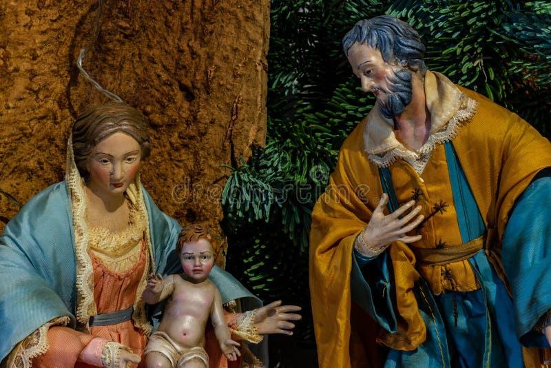 La rappresentazione della famiglia santa, di vergine Maria tenenti il bambino Gesù ed accanto a St Joseph fotografia stock