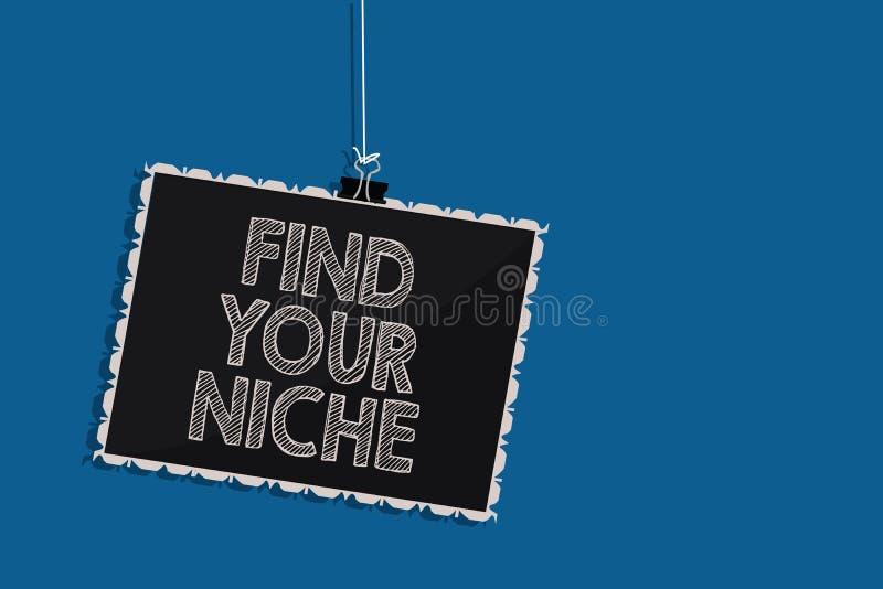 La rappresentazione della nota di scrittura trova il vostro posto adatto Foto di affari che montra studio del mercato che cerca i royalty illustrazione gratis