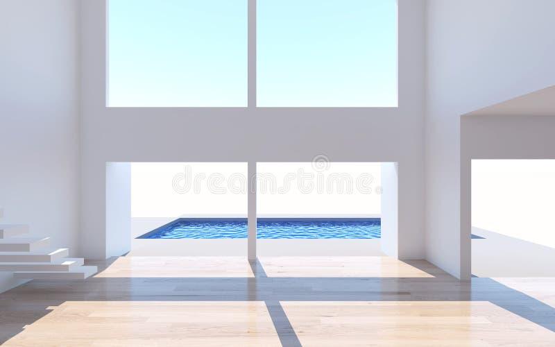La rappresentazione interna domestica con la parete bianca della stanza vuota e là è illustrazione di stock