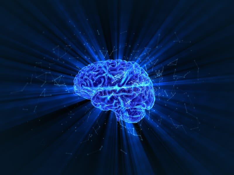 La rappresentazione tridimensionale del cervello umano brillante fotografia stock