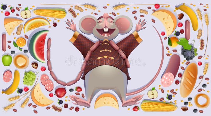 La rata gorda del ratón es patas de extensión del resto 2020 en abundancia rica de la riqueza del símbolo chino del calendario stock de ilustración
