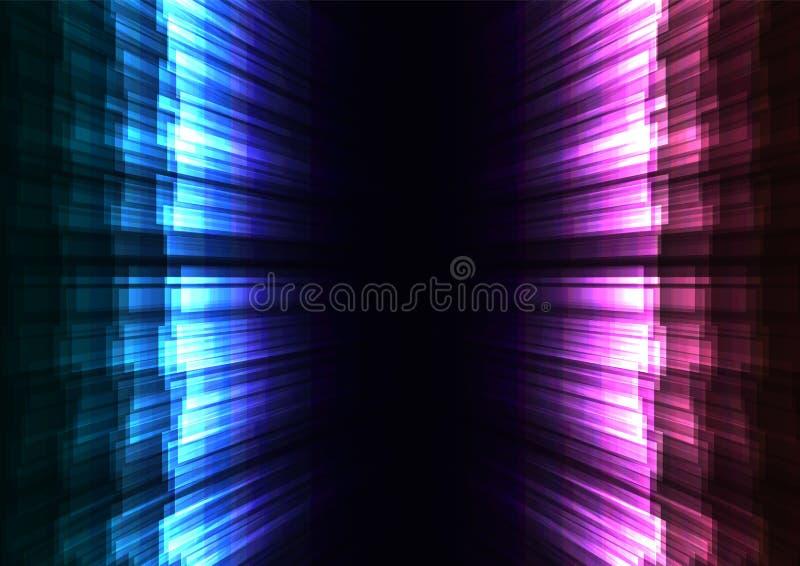 La raya del resplandor del azul y del rosa coincide en fondo del espacio oscuro stock de ilustración