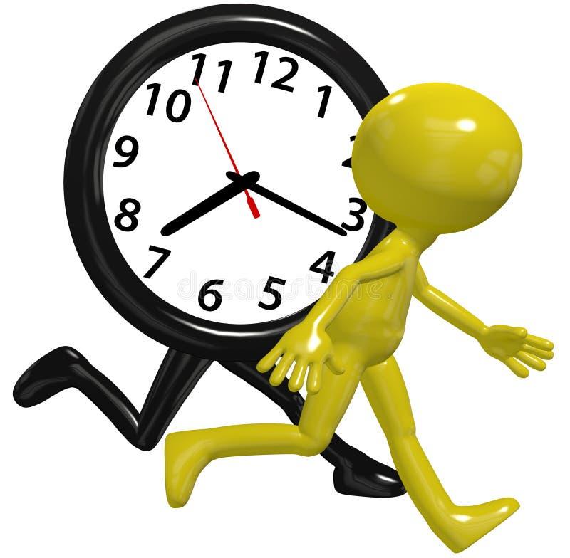 La raza de la prisa del reloj de la persona funciona con tiempo ocupado del día libre illustration