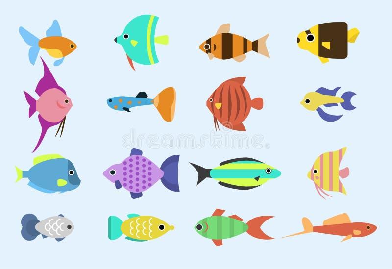 La razza differente della corsa tropicale esotica del pesce colora l'illustrazione piana di vettore dell'oceano di specie della n illustrazione vettoriale