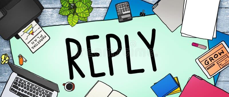 La reacción de la contestación contesta a concepto de las preguntas de la información stock de ilustración
