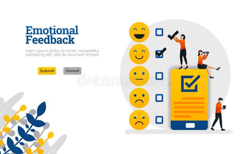 La reacción emocional con los emoticons y las listas de control en concepto del ejemplo del vector de los smartphones puede ser u stock de ilustración