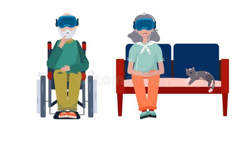 La realidad virtual ayuda a los pacientes - Tecnología VR para aliviar el dolor crónico, atención de demencia, alzhéimers y otros stock de ilustración